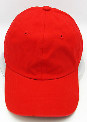 f0cc0ce4adc83 Red Ball Cap Unstructured Dad Hat 100%cotton Adjustable OSFM Curved Visor  New
