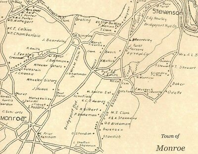 Monroe Stepney Stevenson CT 1942 Map with Homeowners Names Shown