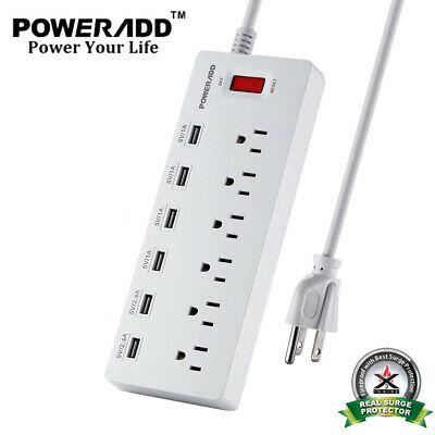 6FT 6 USB Charging Port 6 Outlet Power Strip With Surge Protector Lightningproof