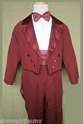 New Baby Boys Formal Tuxedo Suits 5-PC Suit Set size S-XL 2T-4T Burgundy Red