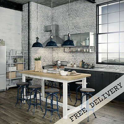 Industrial Recycled Extra Large Wooden Kitchen Island Desk High Bench Bar Table