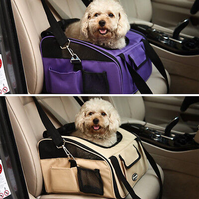 Pet Cat Dog Car Seat Safety Travel Carrier Crate Cage House Bag Shoulder Handbag