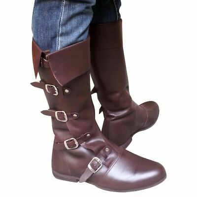 Medieval Leather Boots Renaissance Viking Pirate Shoe Brown Size 10 Sk 521 Xuu