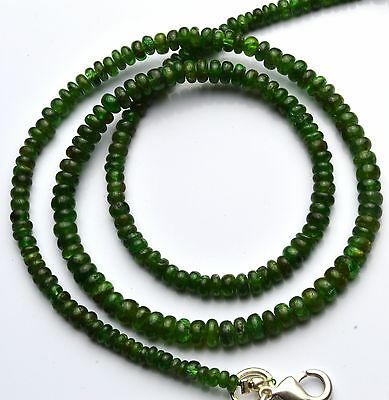 """Natural Gemstone Tsavorite Smooth 3 To 4Mm Rondelle Beads Necklace 65Cts. 16"""""""