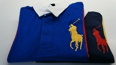 RALPH LAUREN BOYs PANELLED RUGBY CLASSIC FIT MESH POLO GREEN NAVY BLUE S M L XL