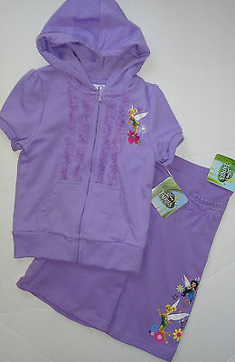New Tinkerbell Size 4 Years Girls Lilac Tracks Hoodie Crop Bottoms  Auth