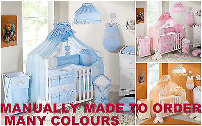 7 Or 8 Pcs Piece Embroidered Cot Cotbed Bedding Nursery Set Duvet Bumper Canopy