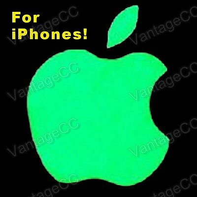 Apple Logo GLOW IN THE DARK Vinyl Sticker Label, for iPhone, Luminescent 4 5 6 7