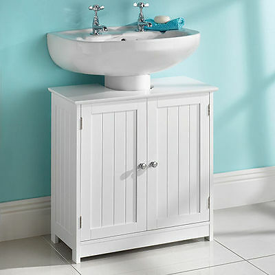 Brand New Under Sink Basin Storage Unit in White Wood Bathroom Furniture Cabinet