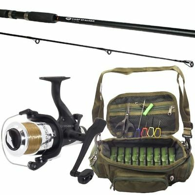 1 x CARP STALKER FISHING ROD AND REEL WITH STALKING MINI BAG SET