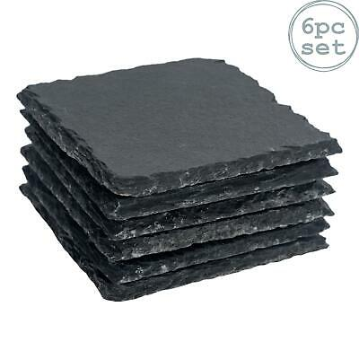 Square Shape Natural Grey Slate Drinks Cups Coasters - Set of 6