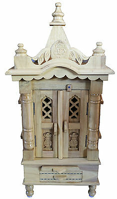 "Savan Wood Hindu Temple Sevan Wood Puja Mandir 12""(W) x 9""(D)x34""(H) _UK Seller"