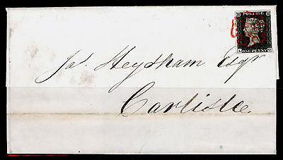 Sg2, 1d black PLATE 3, FU. Cat £900. RED MX. 4 MARGINS. COVER AUG 8th 1840. LG