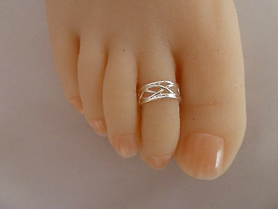 2X Elegant 925 Sterling Silver Plated Adjustable Toe Ring Stylish  Foot Jewelry