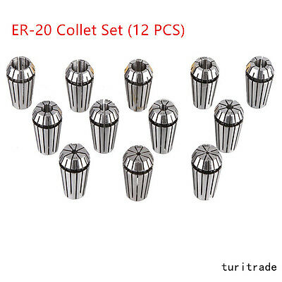 New ER20 12Pcs  Spring Collet Set For CNC Milling Lathe Tool Engraving Machine