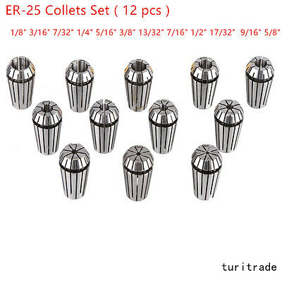 ER25 Spring 12Pcs Collet Set For CNC Milling Lathe Tool Engraving Machine