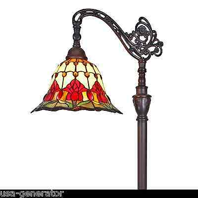"""Floor Lamp Reading Light Stained Art Glass Tiffany Style TULIPS 12"""" D x 62"""" H"""
