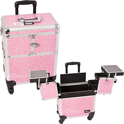 Makeup Storage Box Train Make Up Cosmetic Luggage Organizer Rolling Beauty Case