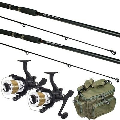 2 x CARP STALKER FISHING RODS AND REELS WITH STALKING MINI BAG