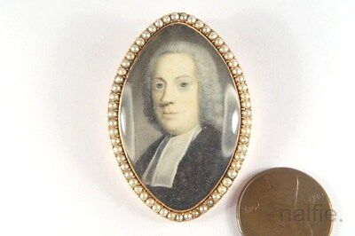 ANTIQUE GEORGIAN ENGLISH 15K GOLD PEARL CLERGYMAN PORTRAIT BROOCH c1780