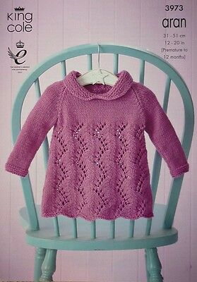 KNITTING PATTERN Baby Long Sleeve Lacy Dress with Collar Aran King Cole 3973