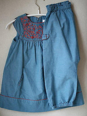 Tartine Et Chocolat Baby Turquoise Dress Trousers Outfit 2 Years