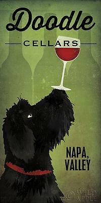 LABRADOODLE DOG ART PRINT RETRO STYLE ADVERT POSTER Doodle Cellars Napa Valley