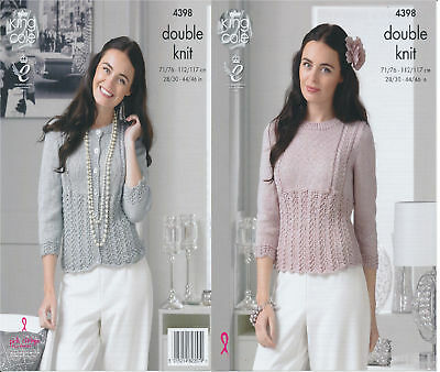 King Cole Ladies Double Knitting Pattern Lace Effect Cardigan Sweater DK 4398