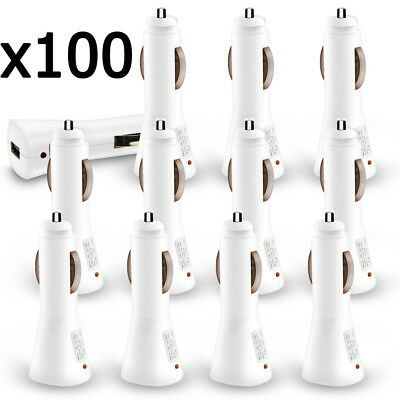 100 x Wholesale Lot White USB Car Charger 1000 mAh for iPhone 6 Galaxy S6 S7