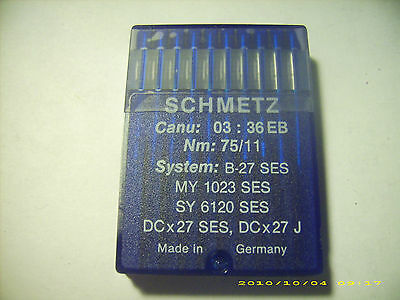 29 pc SCHMETZ sewing machine needles B-27 SES MY1023SES SY6120SES NM 75/11