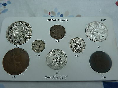 1921 Full Set of 8 Coins in Display Card - Ideal Birthday Present - Half Silver