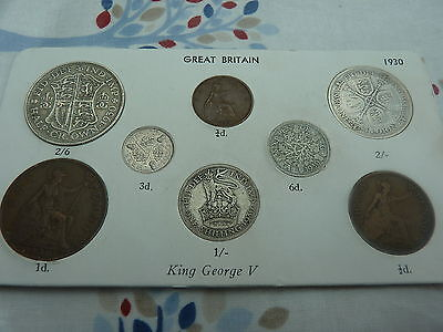 1930 Full Set of 8 Coins in Display Card - Ideal Birthday Present - Half Silver