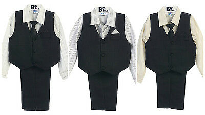 Boy's 4 Pieces Suit Vest Set Formal Wear Infant Toddler Kids Size 9 M-4 Years