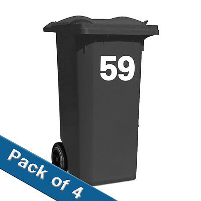Recycling Wheelie BIN NUMBERS x4   SETS VINYL STICKERS CUSTOM MADE HOUSE NUMBER