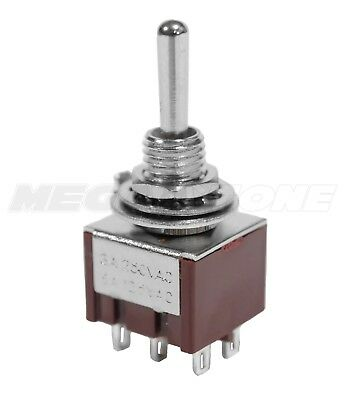 (1) DPDT Mini Toggle Switch ON-ON-ON, Solder Lug, High Quality... USA Seller!!!