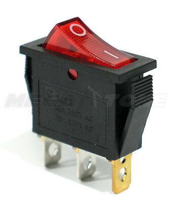 (1 PC) ON/OFF Rocker Switch w/ RED Neon Lamp. SPST 250V AC... USA SELLER!!!