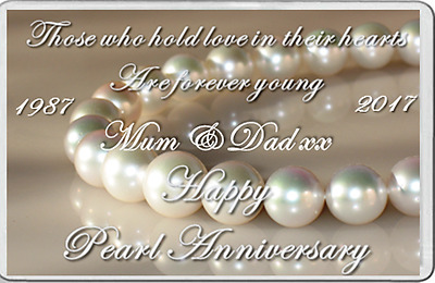FRIDGE MAGNET Pearl Wedding Anniversary 30 years marriage can be personalised