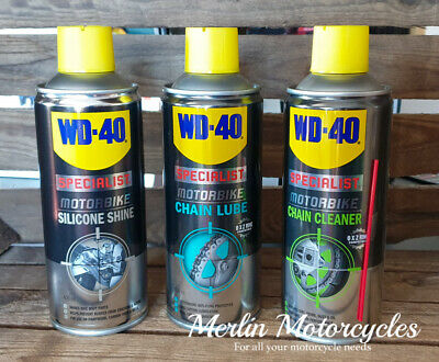 WD40 Specialist Motorbike Mulitpack Chain Lube Cleaner and Silicone Shine