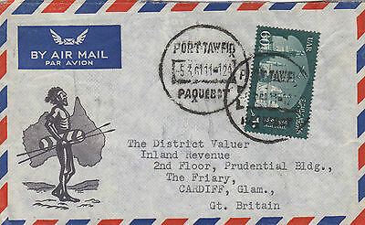 Stamps 1961 Egypt on cover showing Aboriginal sent by ship Australia PAQUEBOT