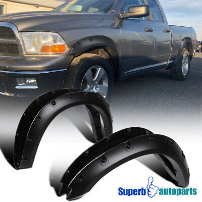 2009-2017 Dodge Ram 1500 Black Pocket Rivet Bolt-On Style Fender Flares