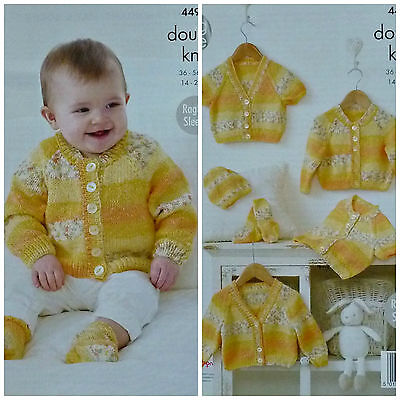 KNITTING PATTERN Baby 4 style Cardigans Hat & Socks Drifter DK King Cole 4490