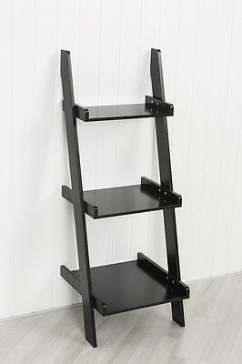 Black Leaning Ladder Shelf with Three Tiers - Modern Display Shelving Unit, Book