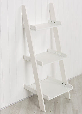 White Leaning Ladder Shelf with Three Tiers - Modern Display Shelving Unit, Book