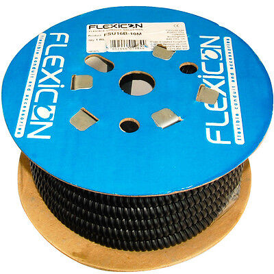 Flexicon FSU16B-10M 16mm Flexible Conduit Reinforced Steel Ducting Black 10m NEW