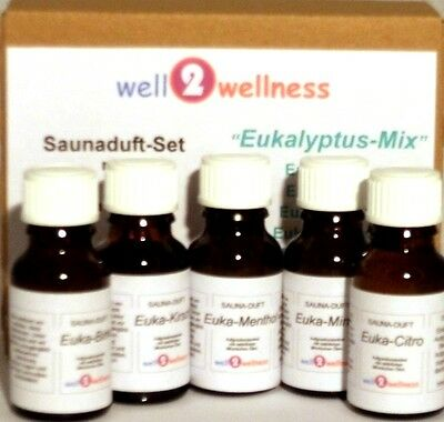 Sauna Set Of Essential Oils For / scent - 'eucalyptus Mix' with 5 x 15ml Bottles