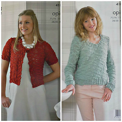 KNITTING PATTERN Ladies Easy Knit Short/Long Sleeve Bolero & Jumper Opium 4180