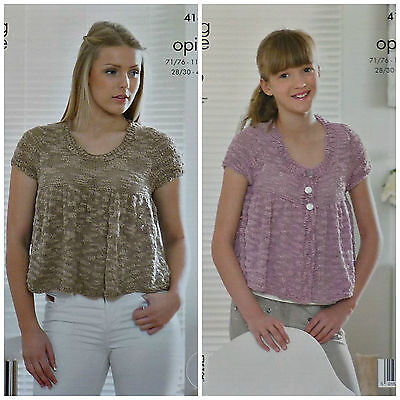 KNITTING PATTERN Girls/Ladies Easy Knit Short Smock Top & Cardigan Opium KC 4181