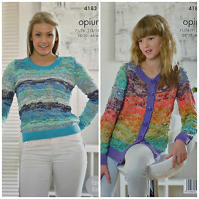 KNITTING PATTERN Ladies/Girls Easy Knit Jumper & Cardigan Opium Palette KC 4183