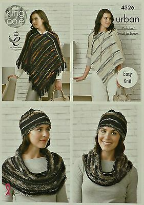 KNITTING PATTERN Ladies Easy Knit Poncho, Hat and Snood/Cowl Urban KC 4326