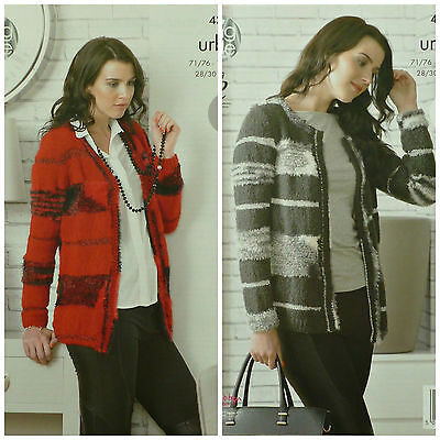 KNITTING PATTERN Ladies Easy Knit Long Sleeve V-Neck Jacket Urban 4327